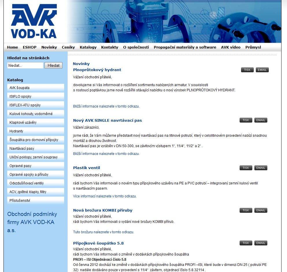 Webové stránky AVK VOD-KA A.S.