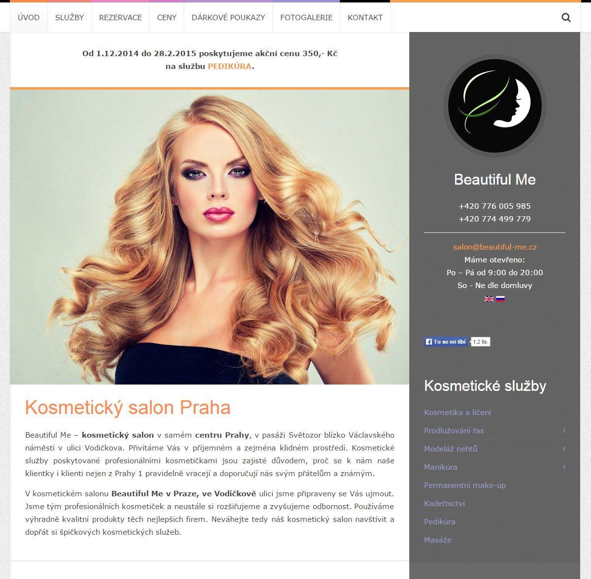 Redesign webu Beautiful Me Praha