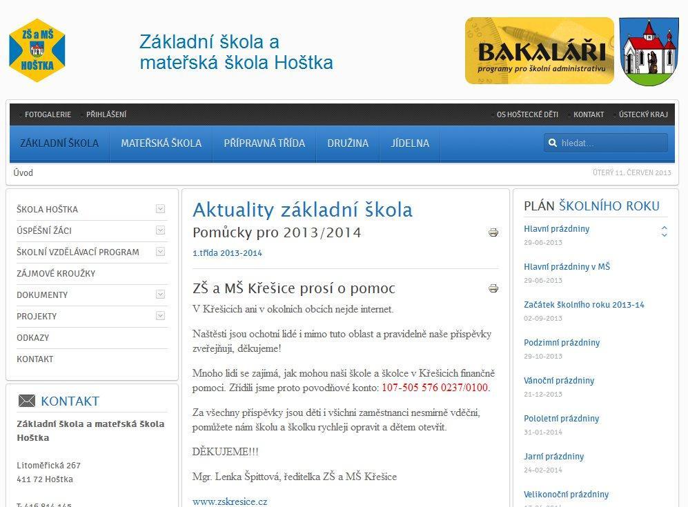 Webové stránky Škola Hoštka